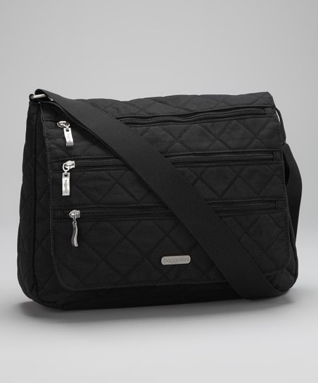 Black & Khaki Quilted Messenger Bag