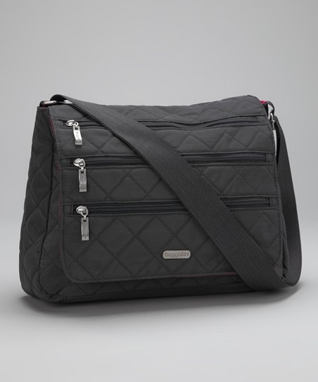 Charcoal & Fuchsia Quilted Messenger Bag