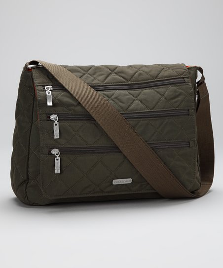 Dark Olive & Spice Quilted Messenger Bag