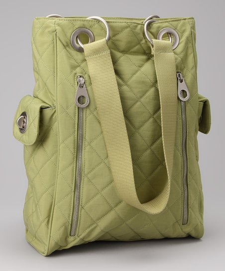 Leaf Green &amp; Steel Blue Quilted Florence Tote