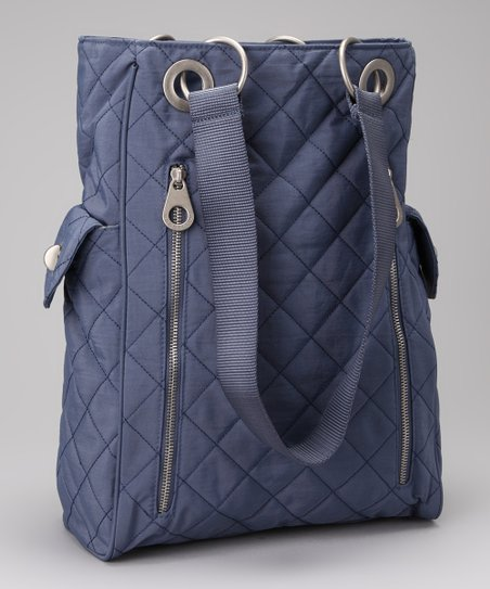 Steel Blue &amp; Leaf Green Quilted Florence Tote