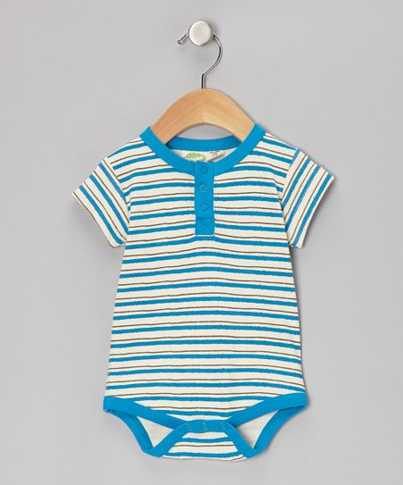 Blue Stripe Organic Henley Bodysuit - Infant