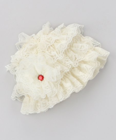 Ivory Lace Ruffle Beanie