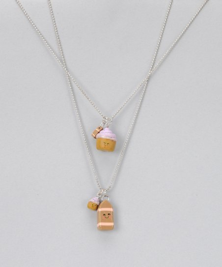 Cupcake &amp; Chocolate Milk Necklace Set