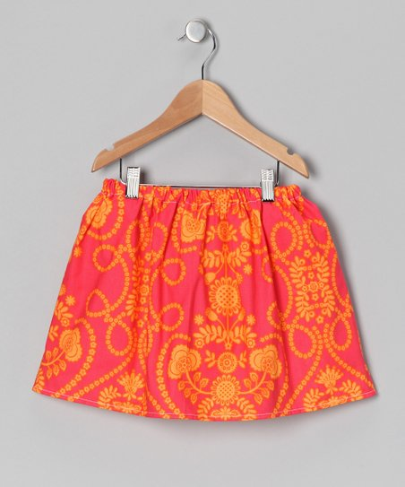 Coral & Orange Damask Skirt - Infant, Toddler & Girls