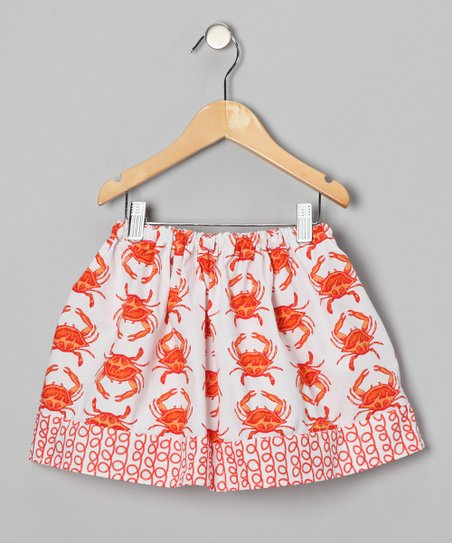 White & Orange Crab Skirt - Infant, Toddler & Girls