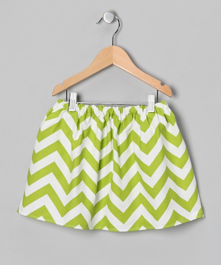 Green & White Chevron Skirt - Infant, Toddler & Girls