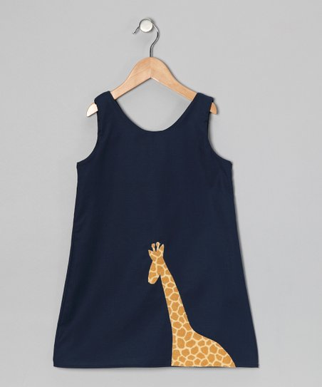 Navy Giraffe Dress - Infant, Toddler & Girls