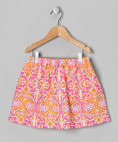 Pink & Orange Damask Skirt - Infant, Toddler & Girls