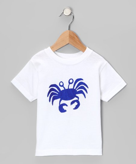 White & Blue Crab Tee - Infant, Toddler & Boys