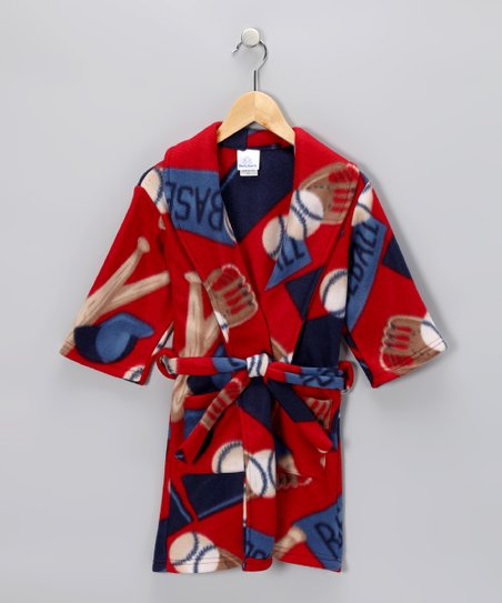 Red Baseball Robe - Toddler & Kids