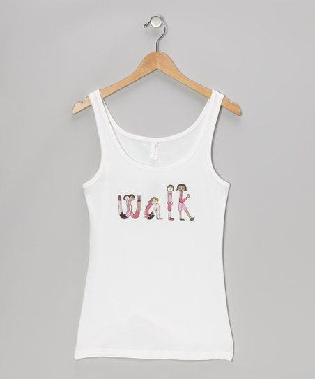 White 'Walk' Tank - Women