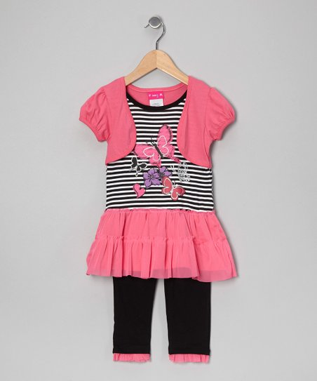Pink & Black Shrug Top & Leggings - Infant, Toddler & Girls