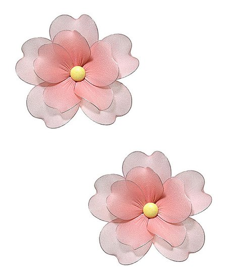 Peach Multi-Layer Hanging Flower - Set of Two