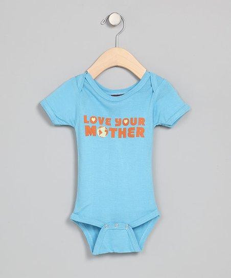 Blue 'Love Your Mother' Organic Bodysuit - Infant