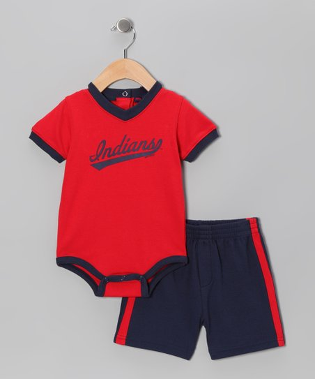 Red & Navy Cleveland Indians Bodysuit & Shorts - Infant