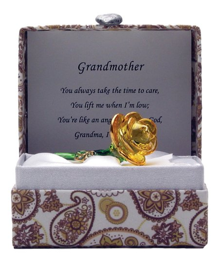 'Grandmother' Yellow Rose Paisley Glass Messenger