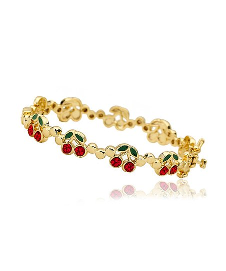 Red Crystal & Gold Cherries Bangle