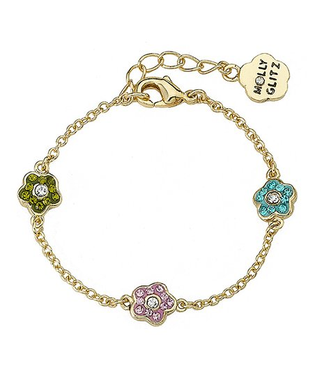 Pink Crystal & Gold Flower Bracelet