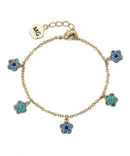 Blue Crystal & Gold Flower Charm Bracelet