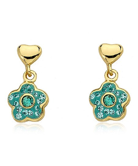 Blue Crystal Flower Earrings