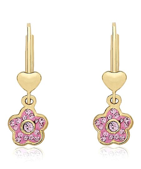 Pink Crystal Flower Earrings