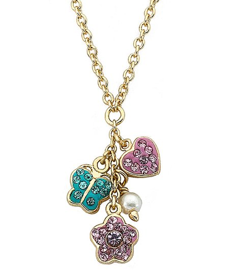 Pink Crystal &amp; Gold Flower Cluster Necklace