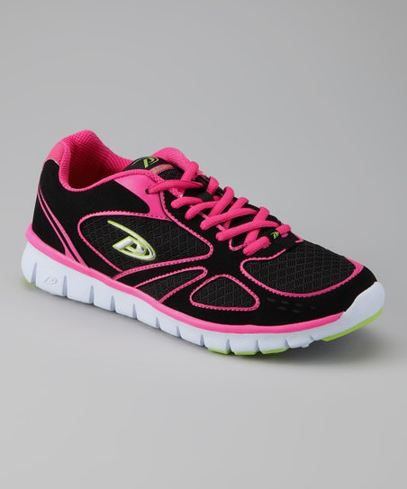 Black & Hot Pink Breeze Running Shoe - Women