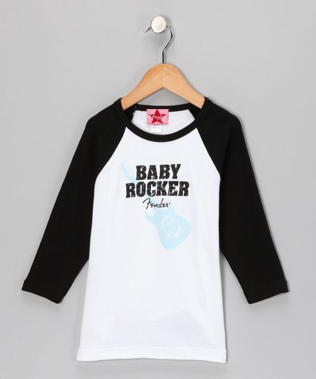 White & Black 'Baby Rocker' Raglan Tee - Infant, Toddler & Girls