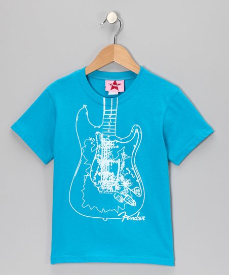 Turquoise & White Fender Guitar Tee - Girls