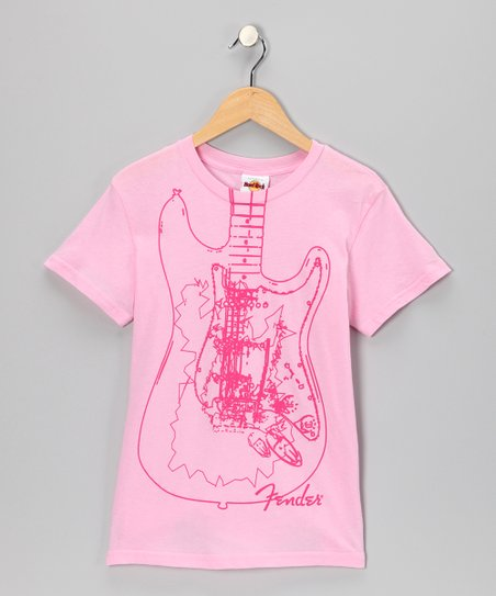Pink & Red Fender Guitar Tee - Girls