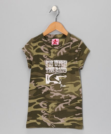 Camouflage 'I'm With the Band' Fender Tee - Girls