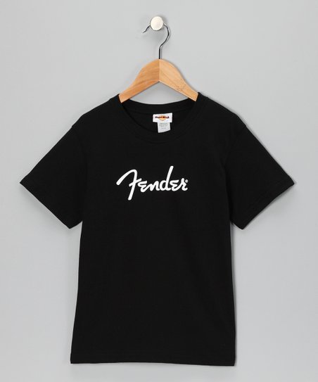 Black 'Fender' Tee - Girls