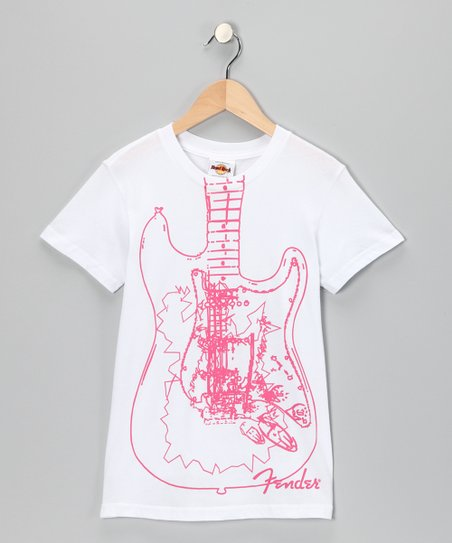 White & Red Fender Guitar Tee - Girls