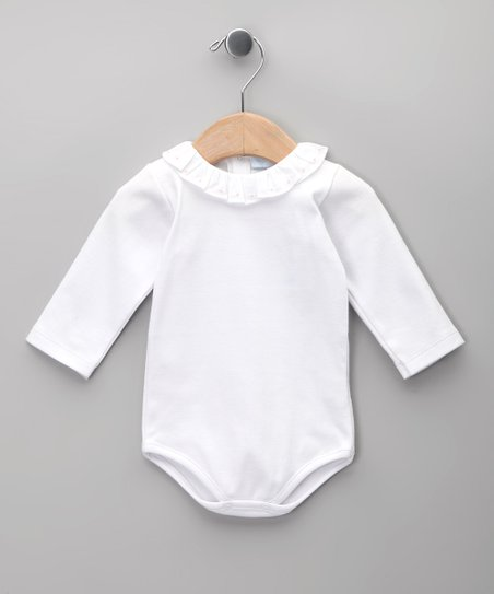 Blanco & Rosa Ruffle Long-Sleeve Bodysuit - Infant