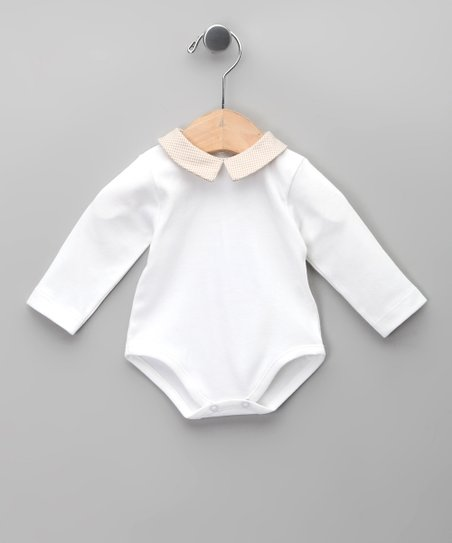 Blanco Gingham Peter Pan Bodysuit - Infant