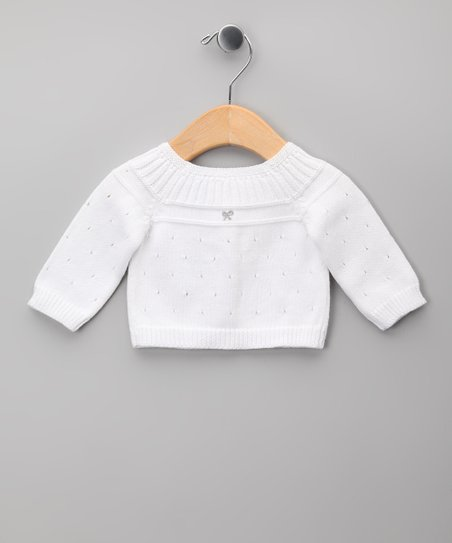 Blanco & Gris Pleated Pointelle Cardigan - Infant
