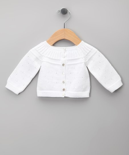 Blanco & Azul Pleated Pointelle Cardigan - Infant