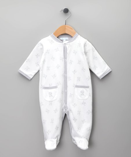 Blanco &amp; Gris Bear Footie - Infant