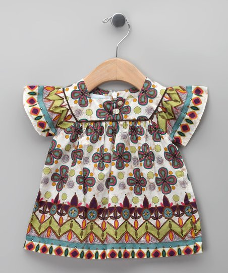 Morado Floral Angel-Sleeve Dress - Infant