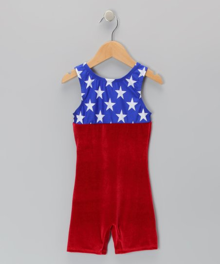 Blue & Red Old Glory Velvet Biketard - Girls
