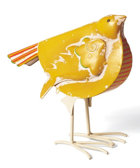 Yellow Fancy Bird Figurine