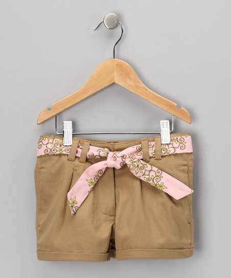 Tan & Pink Shorts & Sash - Toddler & Girls