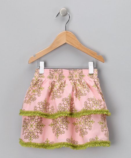 Pink & Green Tiered Skirt - Toddler & Girls