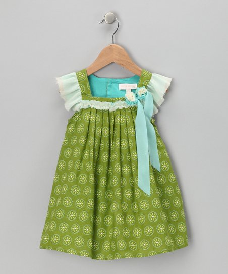Green Daisy Angel-Sleeve Dress - Toddler