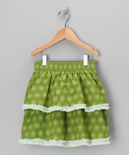 Green Daisy Tiered Skirt - Toddler & Girls