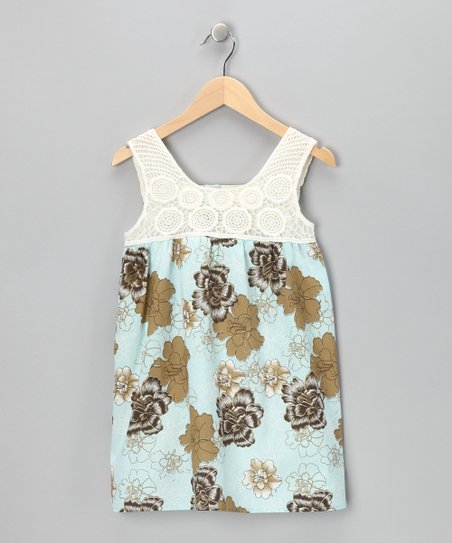 Blue Floral Crocheted Dress - Infant, Toddler & Girls