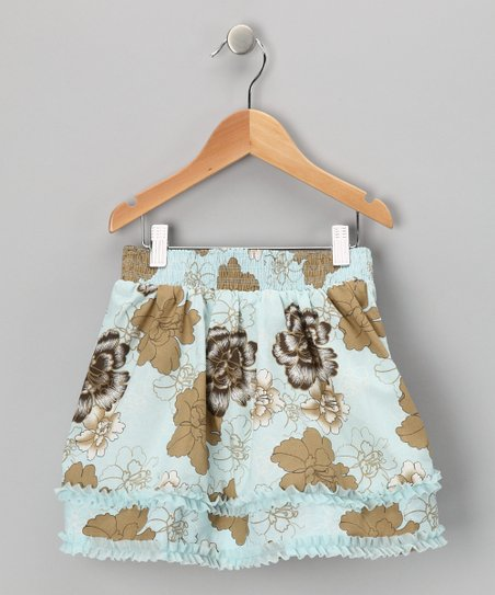 Blue Floral Tiered Skirt - Girls