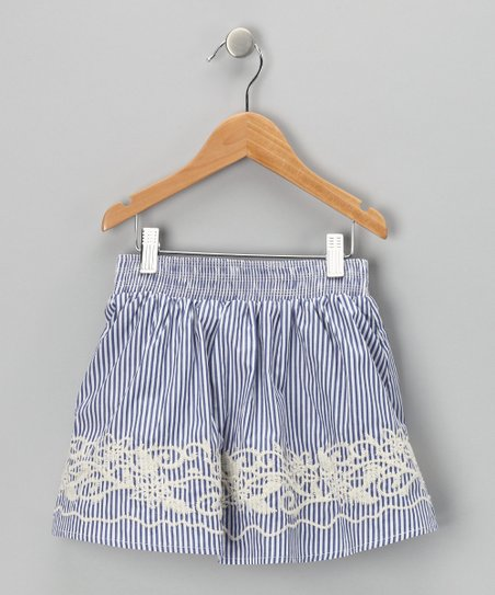 Blue Stripe Embroidered Skirt - Toddler &amp; Girls