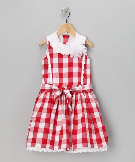 Red & White Gingham Ruffle A-Line Dress - Toddler